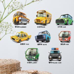 Cartoon Car Vehicle Removable Kids Wall Sticker - Colormix - 45*30cm
