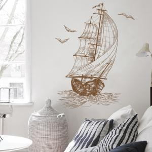 Sketch Sail Boat Vinyl Decorative Wall Sticker - Bis 40*60CM