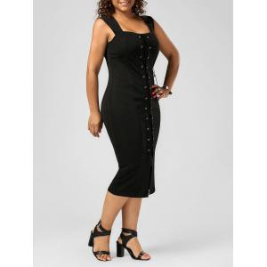 Plus Size Lace Up Midi Bodycon Dress - Black - 3xl