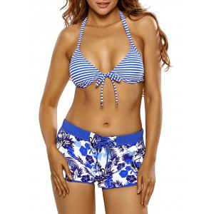 Halter Striped Floral Boyshorts Bikini Set