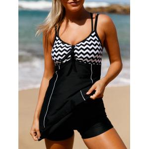 Cross Back Zigzag Skirted Swimsuit