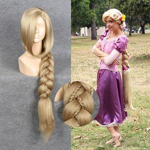 Ultra Long Side Part Braided Straight Tangled Rapunzel Cosplay Wig - Golden Yellow