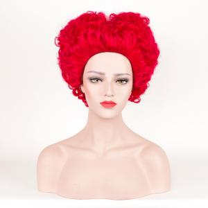 Short Fluffy Curly Alice in Wonderland Red Queen Cosplay Synthetic Wig