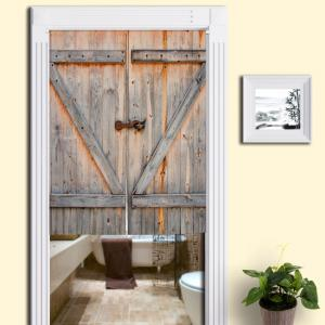 Rustic Country Wooden Door Printed Door Curtain - Papayawhip - W33.5 Inch * L47 Inch