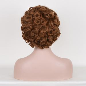 Short incliné Bang Shaggy Curly Queenie Goldstein Cosplay perruque synthétique - Brun