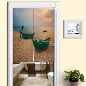 Beach Boat Print Fabric Bathroom Door Curtain