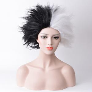 Short Shaggy Straight Two Tone Cruella Deville Cosplay Synthetic Wig