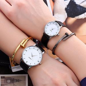Minimalist Faux Leather Strap Couple Watches - SILVER