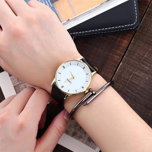 Minimalist Faux Leather Strap Couple Watches - Blanc + Or