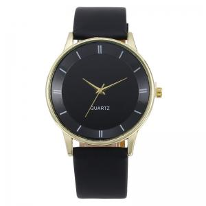 Minimalist Faux Leather Strap Couple Watches - NOIR OR