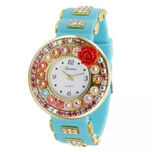 Rhinestone Flower Number Analog Quartz Watch - Mint
