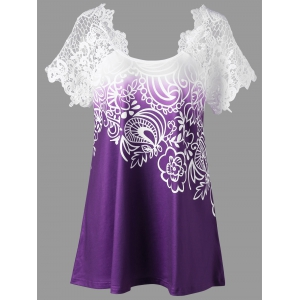 Lace Panel Raglan Sleeve Floral Plus Size Top