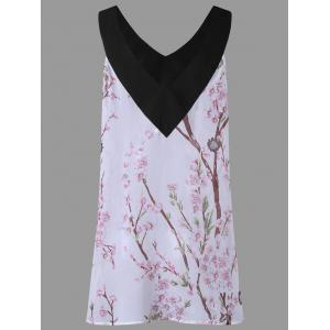 Plus Size Floral Print Sleeveless Top - WHITE 5XL