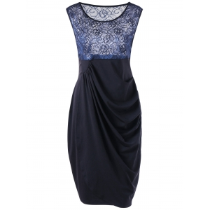 Lace Insert Ruched Plus Size Bodycon Dress