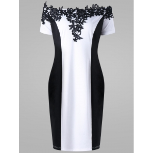 Appliqued Off The Shoulder Plus Size Pencil Dress - White And Black - Xl