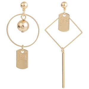 Letters Engraved Geometric Asymmetric Drop Earrings - Golden