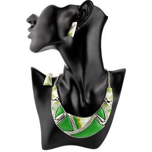 Boho Geometrical Spliced Faux Gem Necklace Set - Green