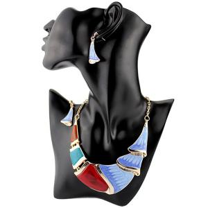 Geometrical Faux Gem Boho Statement Necklace Set - Blue