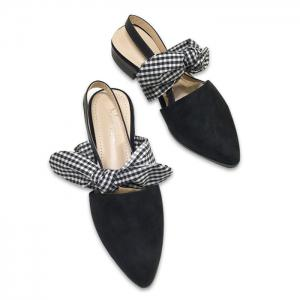 Point Toe Bowknot Slingback Flats - Black - 38