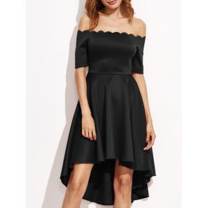 Off The Shoulder Scalloped High Low Dress