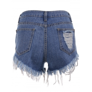 Cut Off Ripped Mini Denim Shorts -