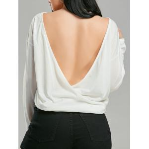 Backless Long Sleeve Wrap T-shirt