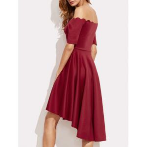 Off The Shoulder Scalloped High Low Dress -