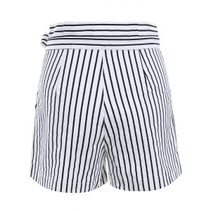 Ruffles Waist Bowknot Stripe Middle Shorts - WHITE S