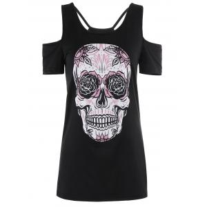 Strappy Skull Print Open Shoulder T-Shirt