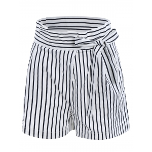 Ruffles Waist Bowknot Stripe Middle Shorts - White - Xl