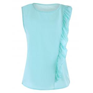 Crew Neck Ruffle Side Chiffon Tee