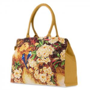 Flower Print Canvas Handbag - DEEP YELLOW