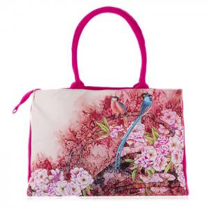 Flower Print Canvas Handbag - Rose Red - 38