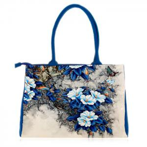 Flower Print Canvas Handbag - Blue