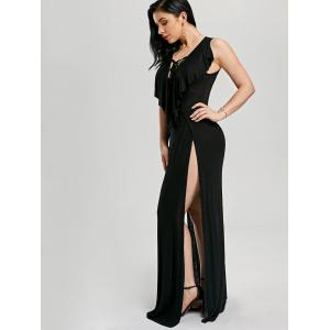 Lace Up High Slit Maxi Flounce Party Dress - BLACK 2XL