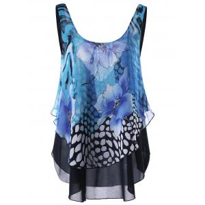 Floral Open Back Sleeveless Layered Blouse - Blue - 2xl
