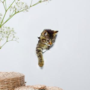Cat Animal 3D Removable Bathroom Wall Sticker - BROWN PATTERN C