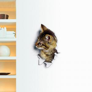 Cat Animal 3D Removable Bathroom Wall Sticker -