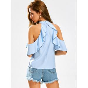Cold Shoulder Stand Collar Ruffles Blouse - LIGHT BLUE L