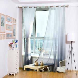 1PC Transparent Gradient Color Voile Window Curtain - SMOKY GRAY W59 INCH * L98.5 INCH