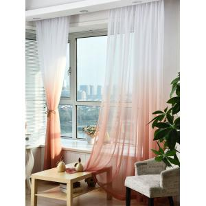 1PC Transparent Gradient Color Voile Window Curtain - Rouge vineux  Largeur39pouces*Longeur98.5pouces