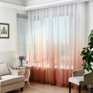 1PC Transparent Gradient Color Voile Window Curtain - Wine Red - W39 Inch * L98.5 Inch