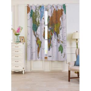 2 Panels Blackout World Map Print Window Curtains - Colorful - W53 Inch * L63 Inch