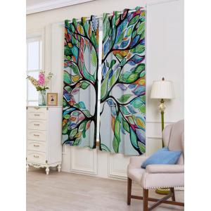 Life of Tree Print Blackout 2 PCs Window Curtains -