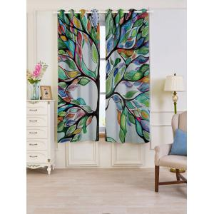 Life of Tree Print Blackout 2 PCs Window Curtains - Colorful - W53 Inch * L63 Inch