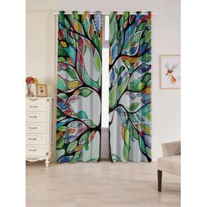 Life of Tree Print Blackout 2 PCs Window Curtains - Colorful - W53 Inch * L84.5 Inch