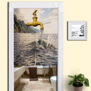 Sea and Faucet Print Home Product Door Curtain - Colormix - W33.5 Inch * L47 Inch