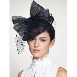 Wide Bowknot Fascinator Veil Cocktail Flax Hat -