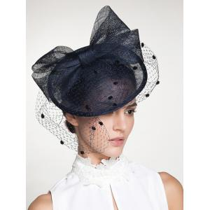 Wide Bowknot Fascinator Veil Cocktail Flax Hat