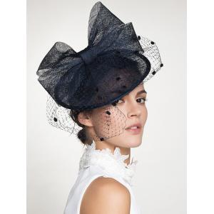 Wide Bowknot Fascinator Veil Cocktail Flax Hat - DEEP BLUE